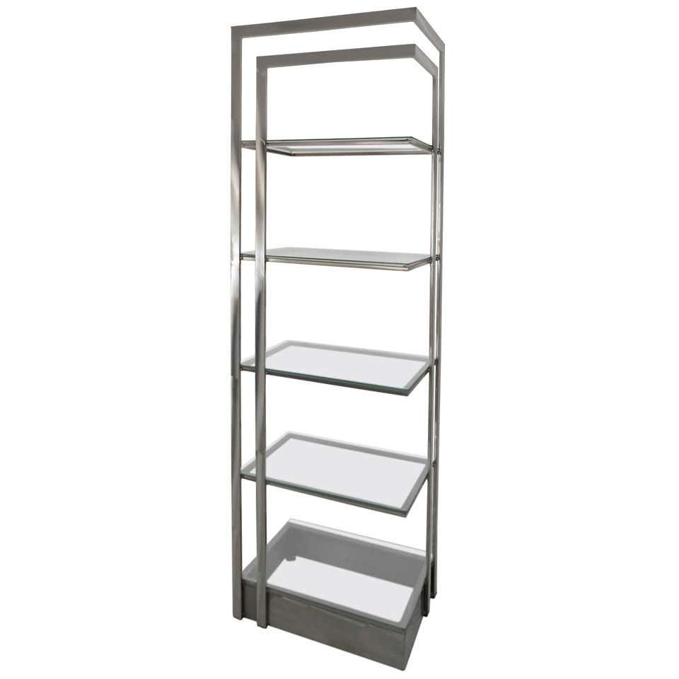 Italian brushed mid century modern stainless steel glass etagere