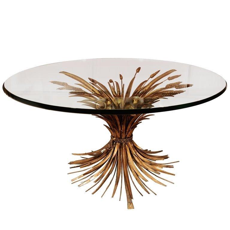Italian Hollywood Regency Style Sheaf Wheat Coffee Table