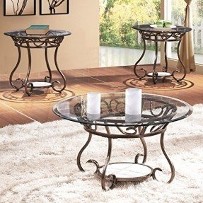 Joveco 3 Pieces Coffee Table Set Red Bronze Metal Frame Round And