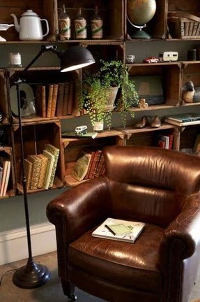 Leather bookcases