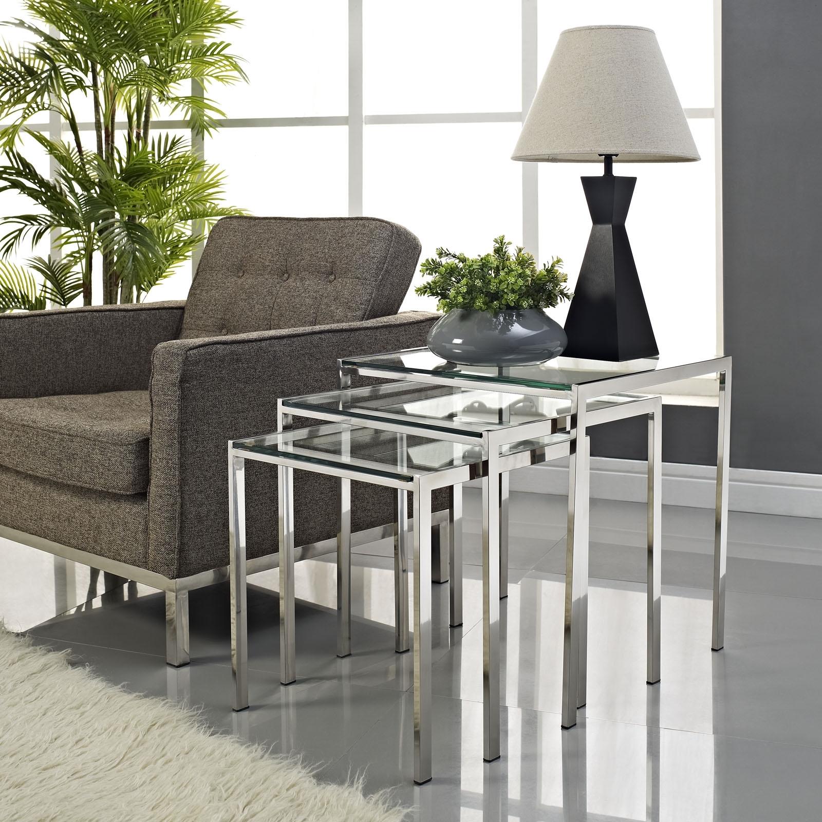 LexMod Nimble Stainless Steel Nesting Table Set