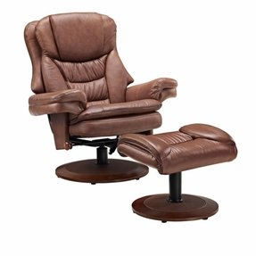 Mac Motion Saddle Top Grain Leather Swivel Recliner with Ottoman
