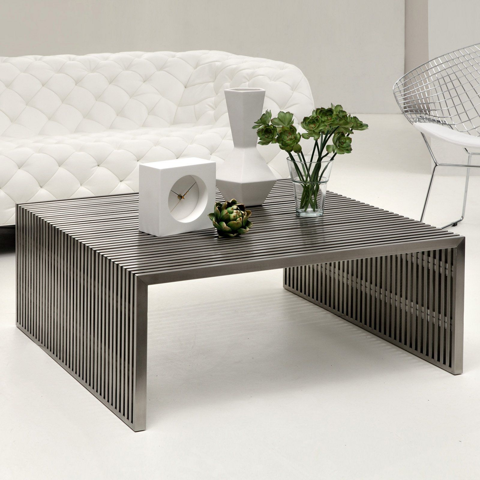 Gentil Mod Made Cubellis Stainless Steel Square Coffee Table