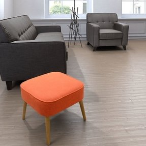 Modern Contemporary Accent Stool, Orange Fabric Wood