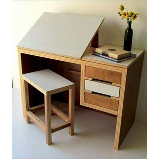Modern drawing desk with matching stool