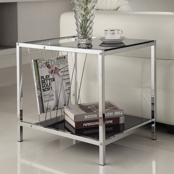 Modern Glass Top End Table Living Room Chrome Side Metal With Magazine  Holder