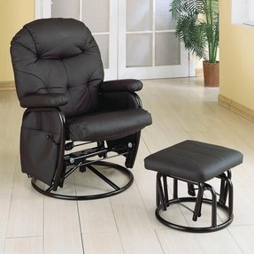 Monarch Specialties Metal Swivel Rocker Recliner with Ottoman, Black