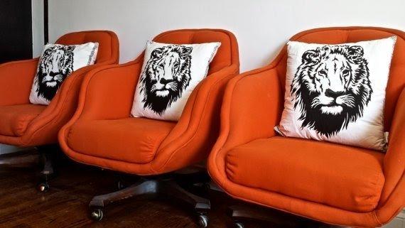 Newly Upholstered Mid Century Modern Retro Orange Swivel Chairs