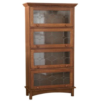 Oak bookcases with glass doors 1