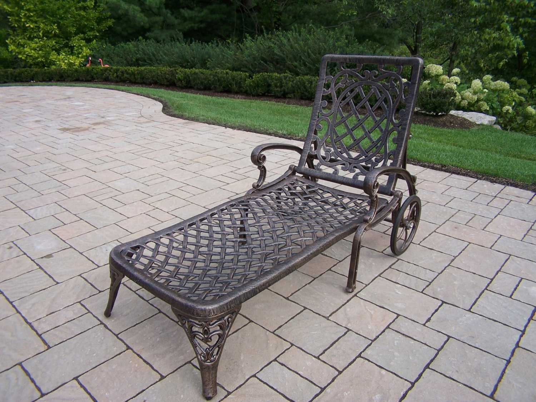 Beau Oakland Living Mississippi Cast Aluminum Chaise Lounge, Antique Bronze