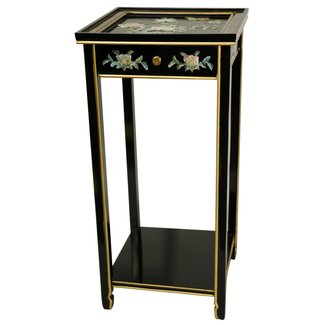 Oriental Furniture Asian Decor 29-Inch Ming Oriental Plant Stand with Drawer, Black Lacquer with Mother of Pearl Birds and Flowers