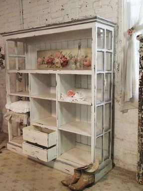 painted cottage chic shabby cape cod - Distressed Bookshelves