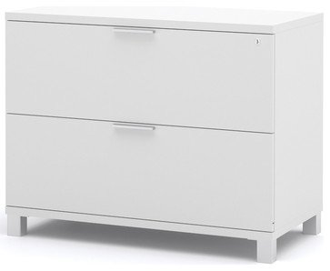 Pro Linea Assembled Lateral File In White Modern Filing Cabinets