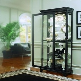 Pulaski Two Way Sliding Door Curio, 33 by 14 by 81-Inch, Black