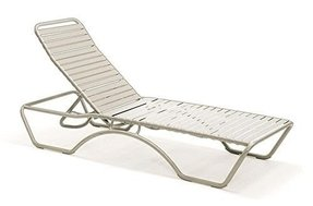 Reclining Chaise Lounge Chair w Aluminum Frame and Nylon Straps - Baja Li (Sandstone)