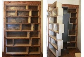 Replace a closet door with a bookcase door 1