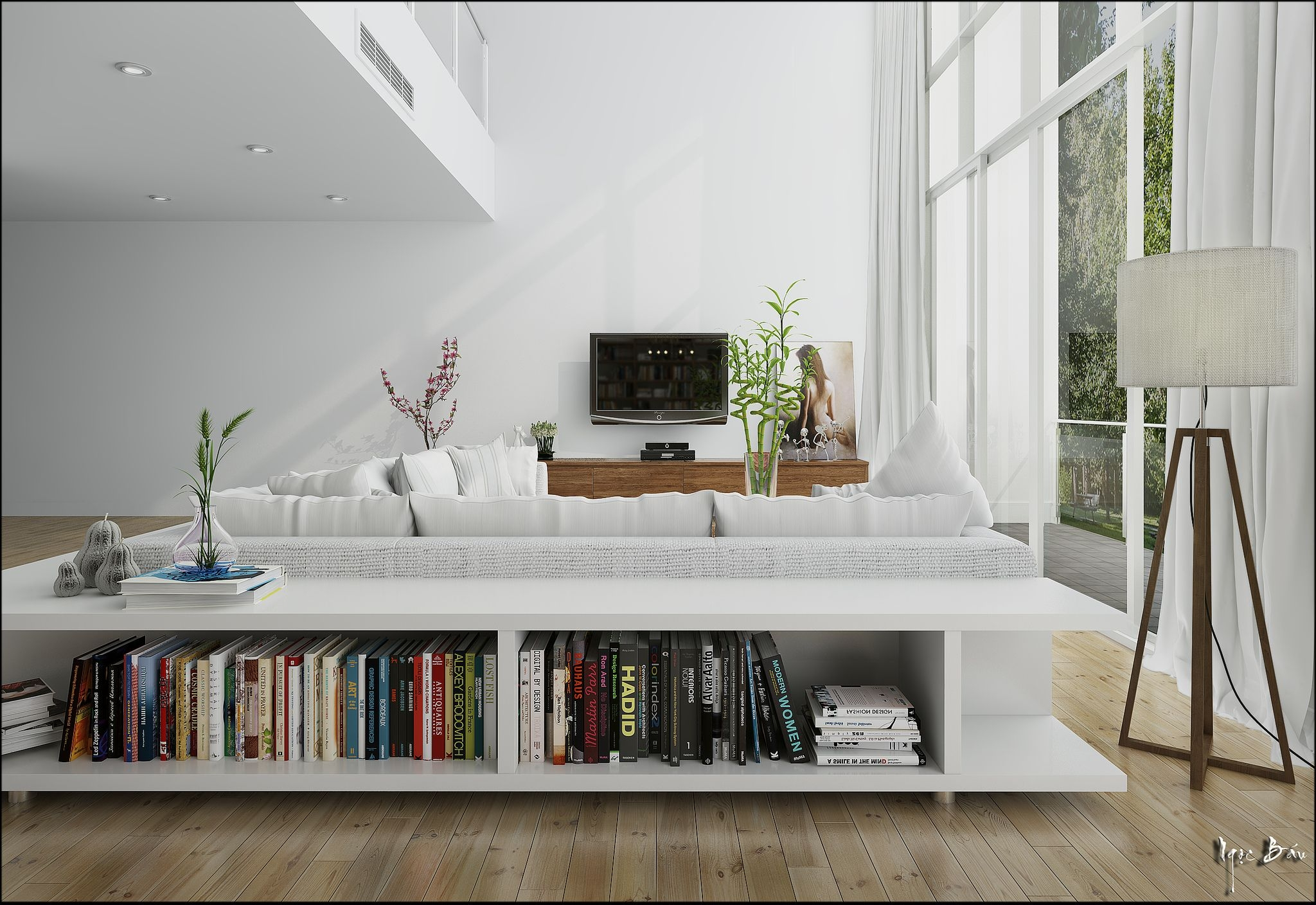 Scandinavian Bookcases 4. This Low Bookcase Behind The Sofa ...