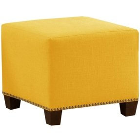 Skyline Furniture Square Nail Button Ottoman, Linen French Yellow