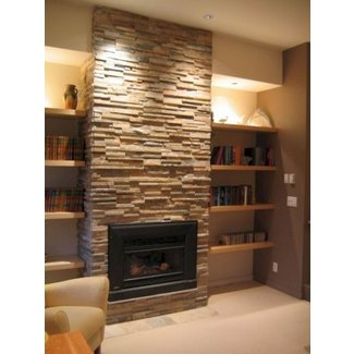 Stacked stone fireplace surround
