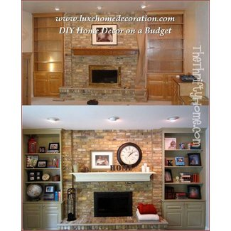 Stone fireplace with bookshelves