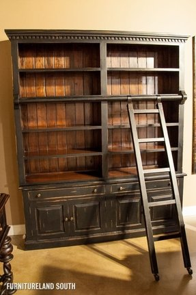 The bramble company weathered black edwardian library bookcase