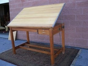 Vintage professional engineer architect quarter oak drafting table 60x38 stacor