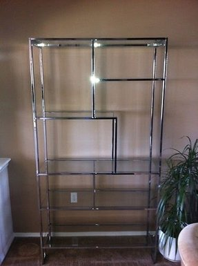 Vtg 70s milo baughman chrome bookcase shelves etagere hollywood regency