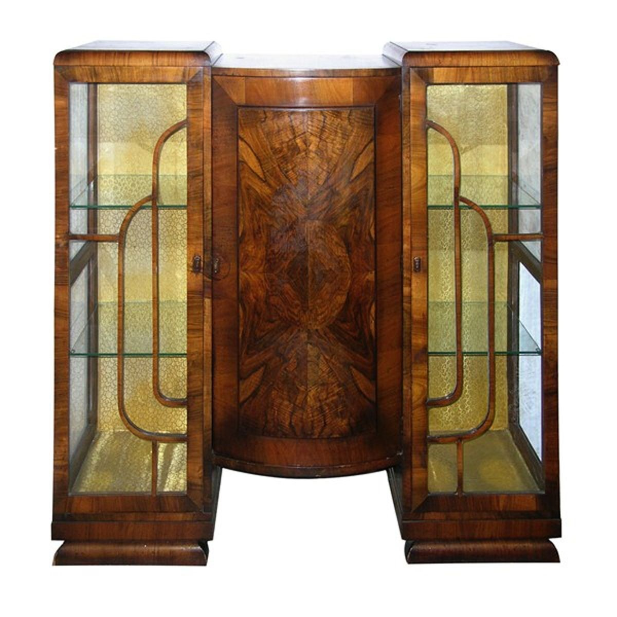 Walnut art deco bookcasecurio cabinet