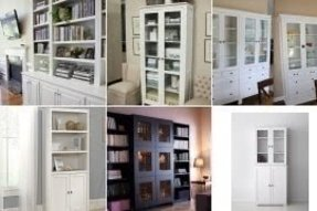 White bookshelf with doors