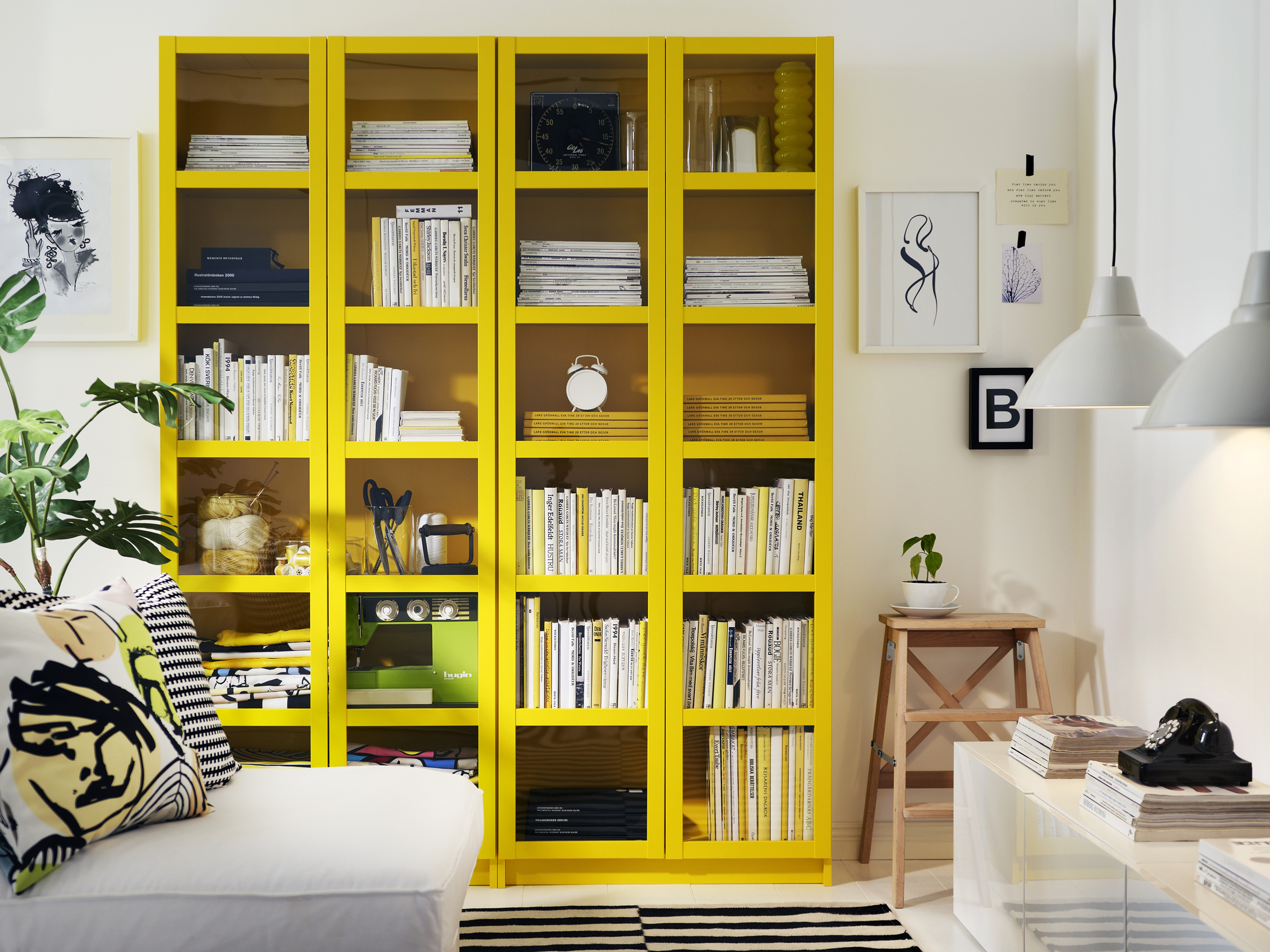 Yellow bookcases