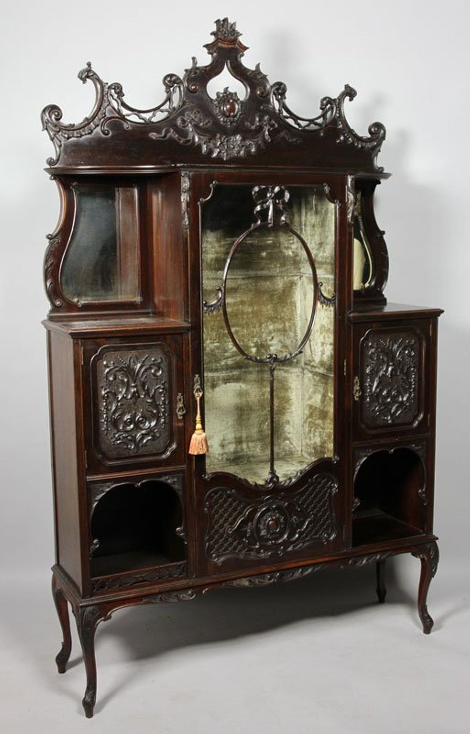 Bon Antique Mahogany Display Cabinets
