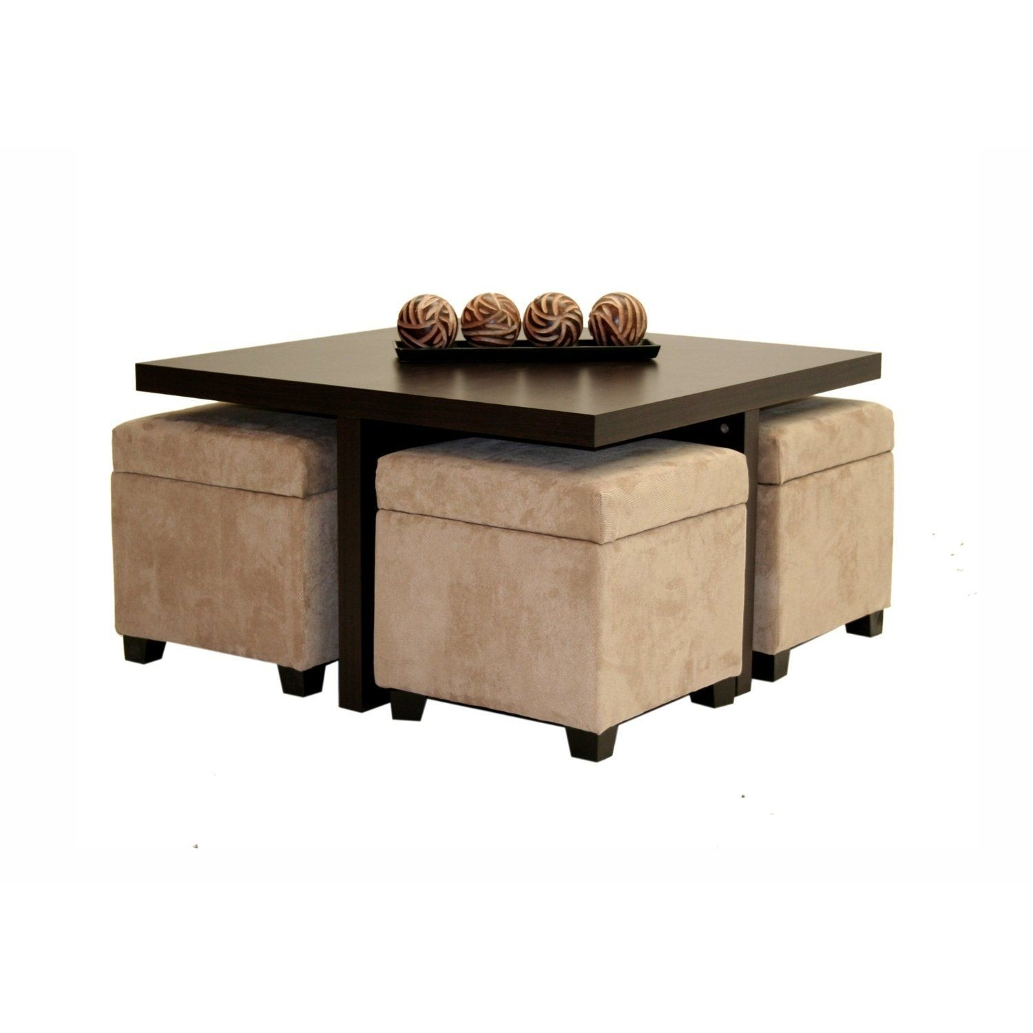 Club Coffee Table With 4 Storage Ottomans Chocolate And Beige