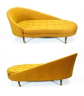 Gold chaise lounge chair