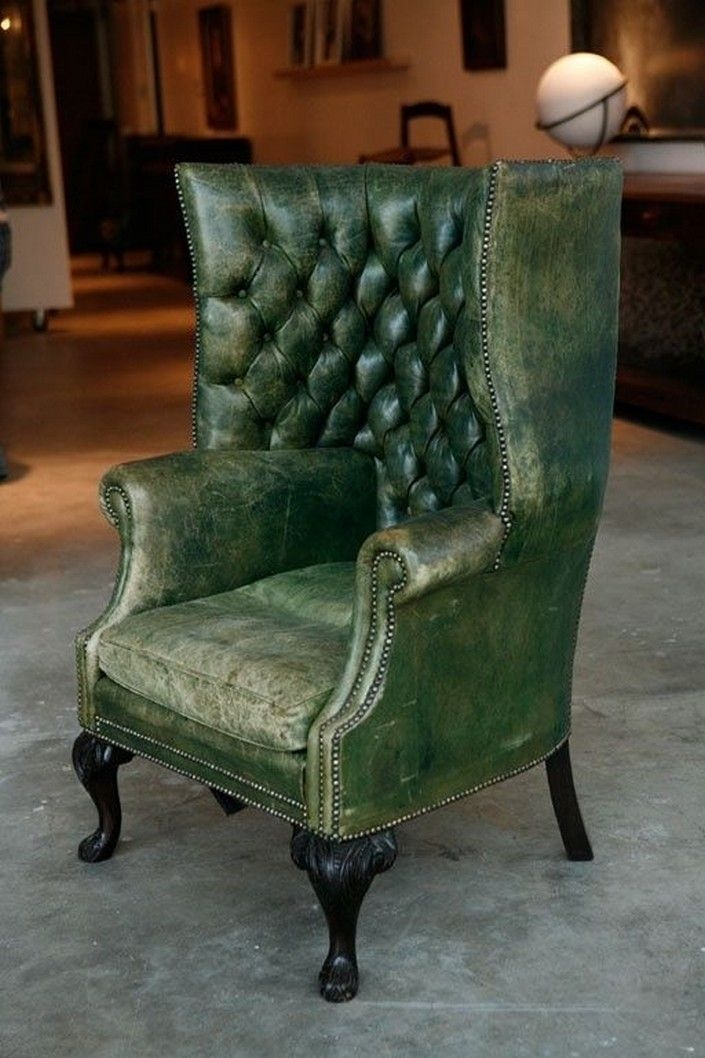 Marvelous Green Wingback Chair