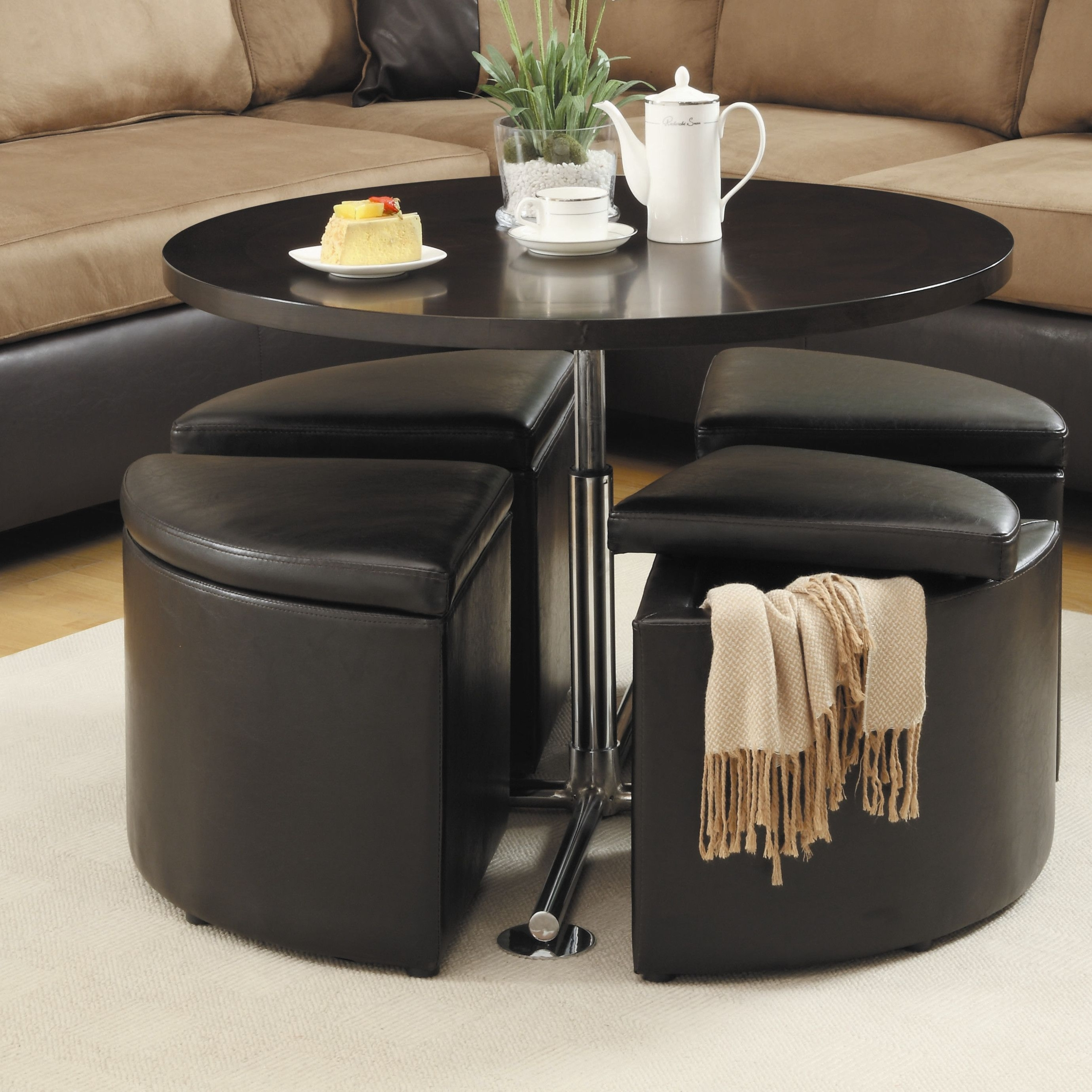 Homelegance Home Creek Hydraulic Lift Cocktail Table with Storage Ottomans multicolor Rubberwood & Round Coffee Table With Storage Ottomans - Foter