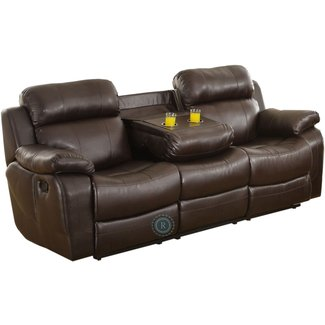 Leather recliners with cup holders