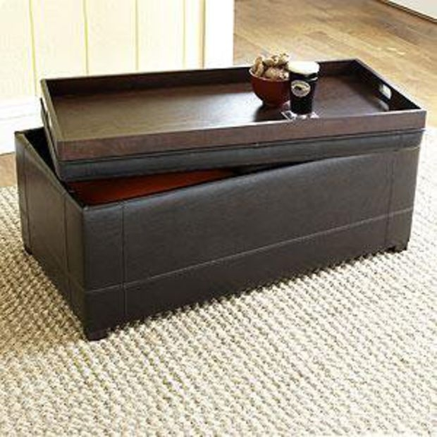 Leather storage ottoman with tray & Leather Storage Ottoman With Tray - Foter