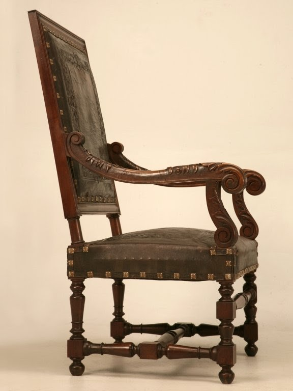 Majestic pair of antique carved throne chairs w tooled leather