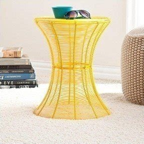 Metal Spiral Accent Table-Yellow