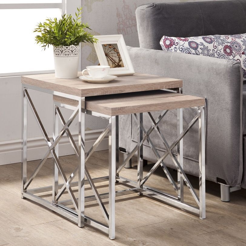 Metro Shop Natural Reclaimed-look Chrome Metal 2-piece Table-NATURAL RECLAIMED-LOOK / CHROME NESTING TABLES