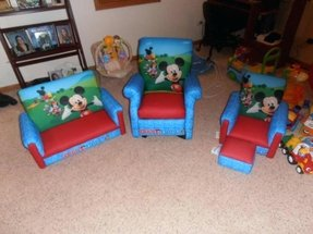 My sons mickey mouse clubhouse furniture includes sofa recliner and