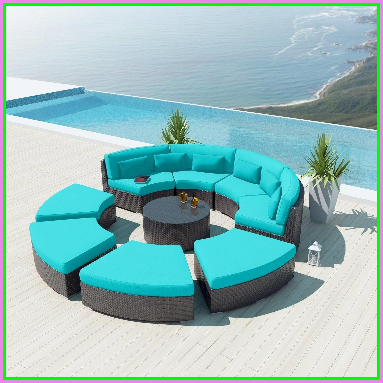 NEW Uduka 9pcs Outdoor Round Sectional Patio Furniture Espresso Brown  Wicker Sofa Set Turquoise All Weather