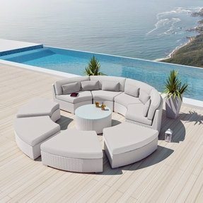 New Uduka Modavi 9pcs Outdoor Round Sectional Patio Furniture White Wicker Sofa Set Off All