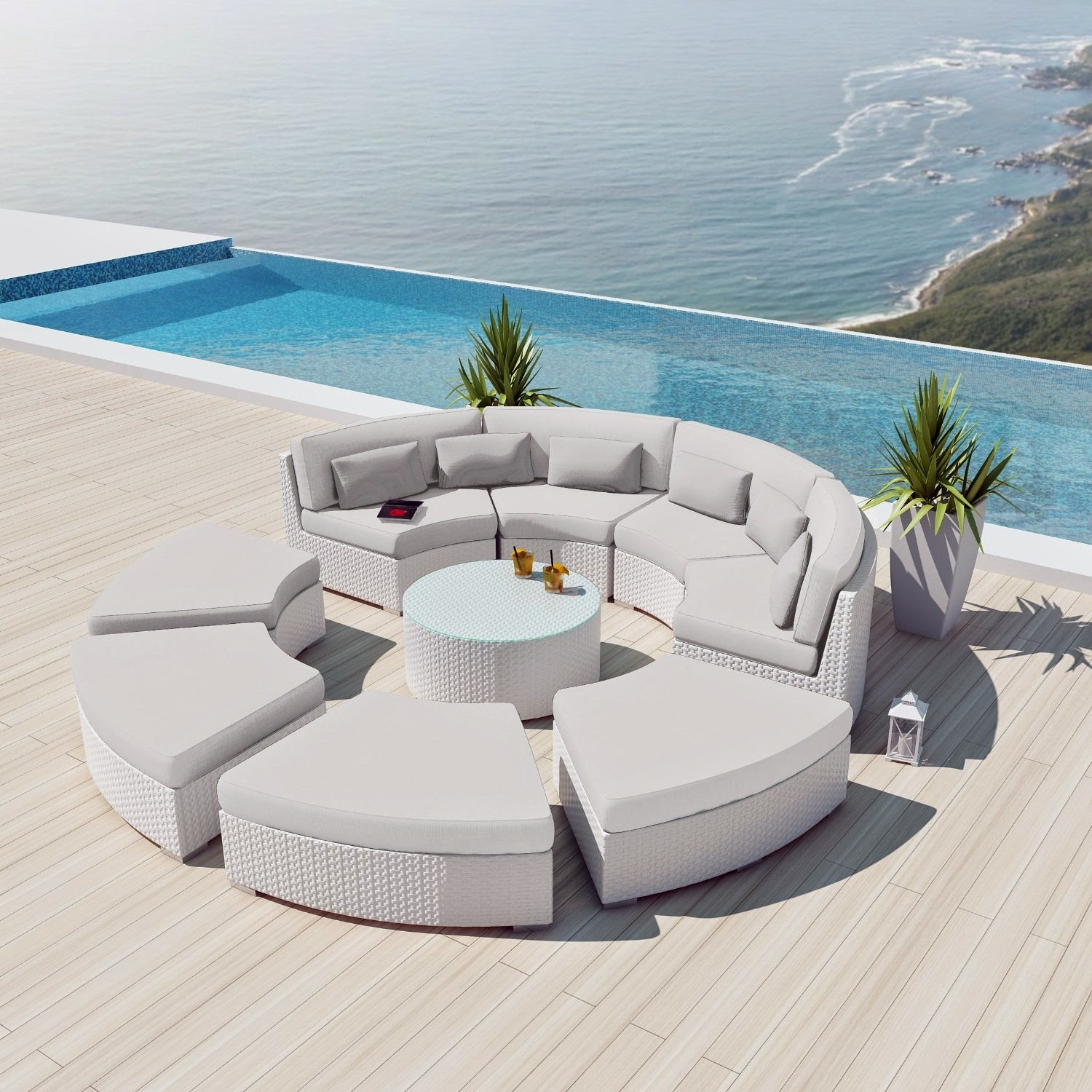 Genial NEW Uduka Modavi 9pcs Outdoor Round Sectional Patio Furniture White Wicker Sofa  Set Off White All