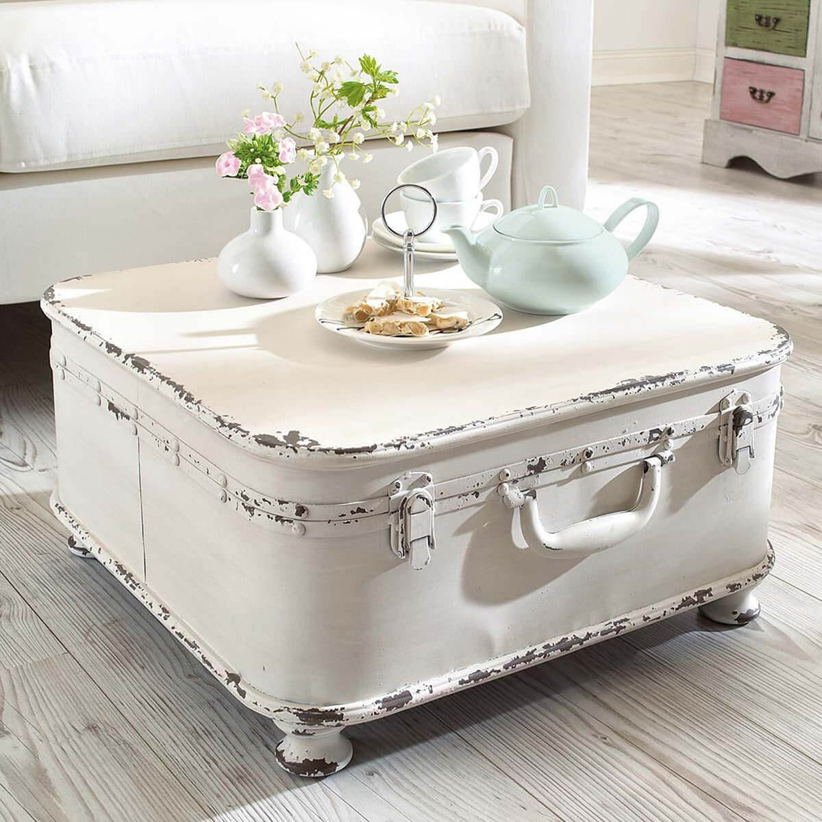 Ordinaire This Stylishly Made Shabby Chic Coffee Table Is A Beautiful Combination Of  Rich Details And A Raw, Unfinished Finish. The Resembles A Chest Or  Suitcase And ...
