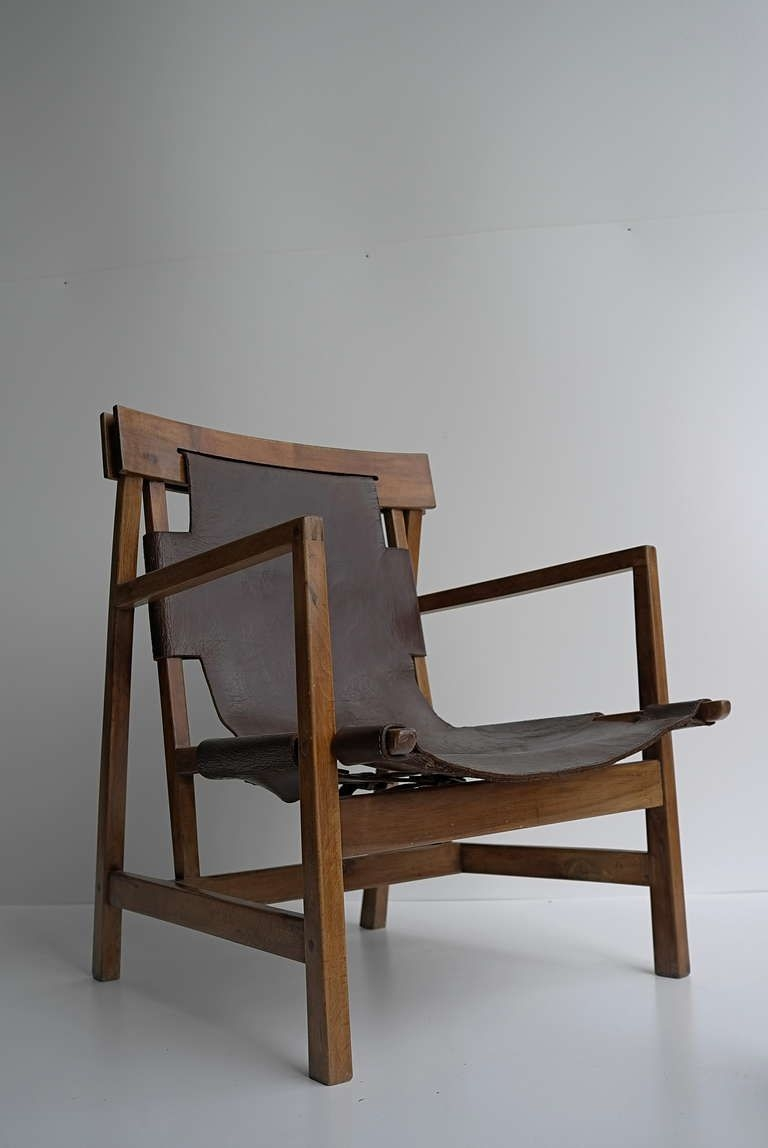 Pre War German Architectural Sling Leather Armchair