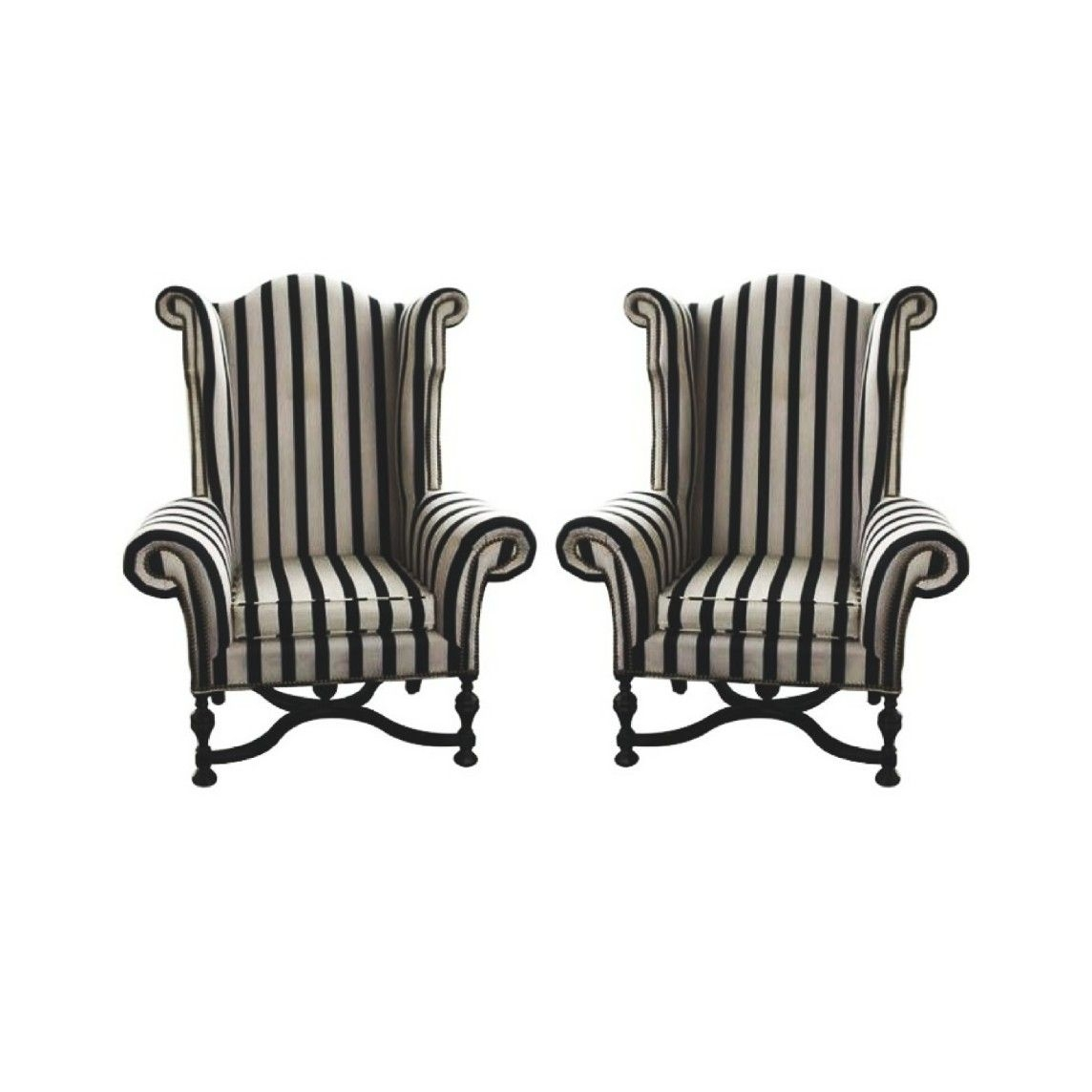 Antique And Sophisticated Approach To An Old Fashioned, Traditional Wing  Chair With Curled Armrests. The Black And White Striped Pattern Of The  Cotton ...