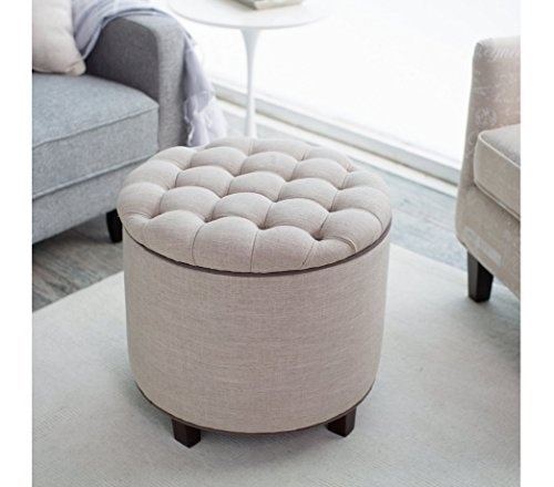 Round Tufted Ottoman, Upholstered - Oatmeal