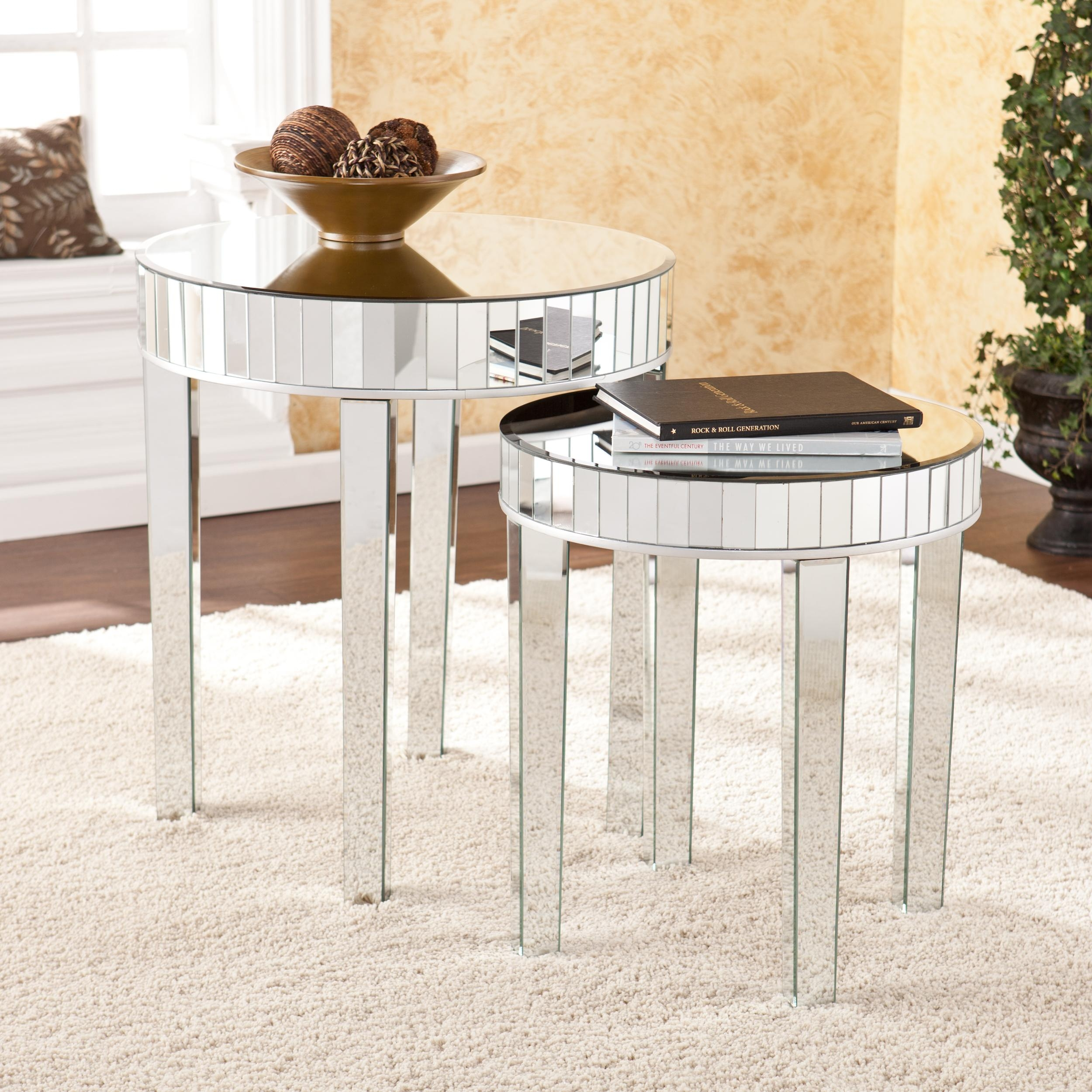 Bon Southern Enterprises Southern Enterprises Mirrored 2 Piece Round Nesting  Table Set, Silver, MDF