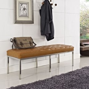 Tan Tufted Leather Loft Bench